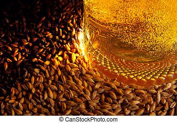 Beer and ingredients - Pale malt, crystal malt, chocolate ...