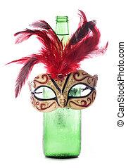 Beer and masquerade mask