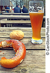 Beer and pretzel, typical Bavarian pause