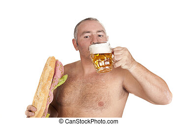 beer and sandwich