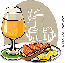 beer and sandwich with salmon