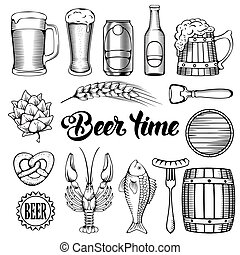 Beer and Snack design elements set in Outline Hand Drawn...