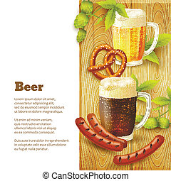 Beer and snacks border - Glass mugs of beer hop pretzel and...