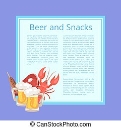 Beer and Snacks Poster with Tasty Refreshment - Beer and...