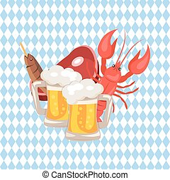 Beer and Snacks Vector Illustration on Checkered