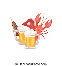 Beer and Snacks Vector Illustration on White