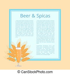 Beer and Spices Poster with Pilsner Glass Vector - Beer and...
