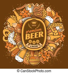 Beer coaster design in Outline Hand Drawn Doodle Style with Different Objects on Beer Theme. Beer and Snack. Paste your company logo in center. Colorful. All elements are separated and editable. Vector Illustration.