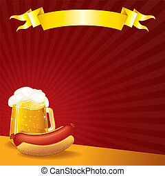 Beer Background - Tavern Template, Sausage and Mug of Beer,...