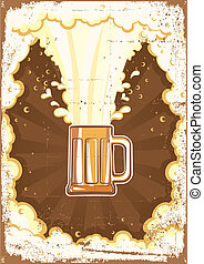 Beer background.Vector grunge Illustration for text