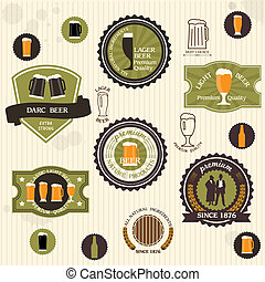 Beer badges and labels in vintage style. Vector set