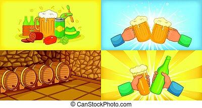 Beer banner set horizontal, cartoon style
