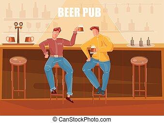 Beer Bar Flat Illustration