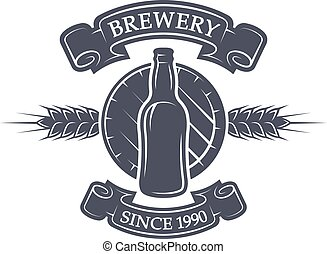 beer., barile, fabbrica birra, bottiglia, emblem.