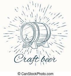 beer barrel and vintage sun burst frame. craft emblem