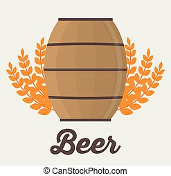 Beer barrel and wheat ear design - Beer barrel with wheat...