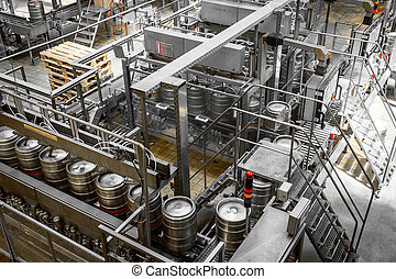 beer barrel charger, washing - Interior of a modern brewery...