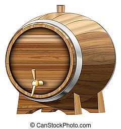 Beer barrel - Wooden Beer barrel. Vector illustration. Clip...