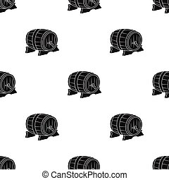 Beer barrel icon in black style isolated on white background. Oktoberfest pattern stock vector illustration.