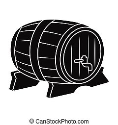 Beer barrel icon in black style isolated on white background. Oktoberfest symbol stock vector illustration.