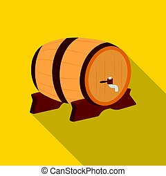 Beer barrel icon in flat style isolated on white background.