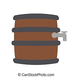 Beer barrel icon - Isolated beer barrel icon on a white...