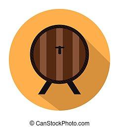 Beer barrel icon on a button, Vector illustration