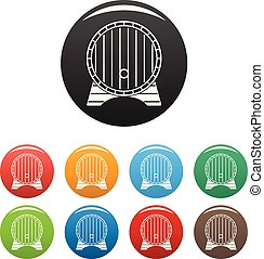 Beer barrel icons set color vector