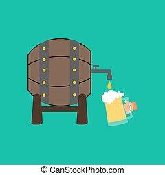 Beer barrel illustration - Beer barrel on the green...