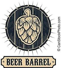 beer barrel - Beer barrel pub label template. Hop on a...