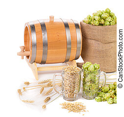 Beer barrel with beer glasses and hop