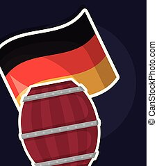 beer barrel wooden with germany flag vector illustration...