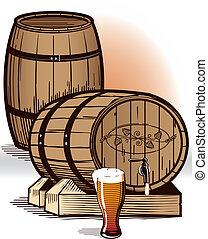 Beer Barrels - A serving barrel with tap and pilsner glass...