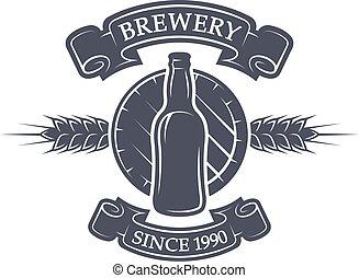 beer., barril, cervecería, botella, emblem.