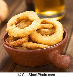 beer-battered, anelli, cipolla