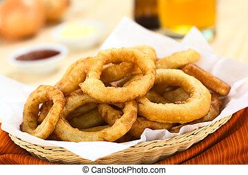 Beer-Battered Onion Rings - Freshly prepared homemade beer-...