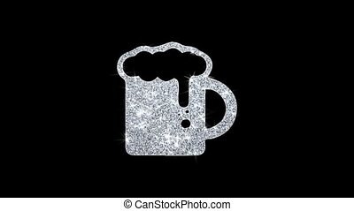 Beer, beer mug, cheers, glass beer Icon Sparkling Shining White Blinking Particles Diamond Glitter Loop Light 4K Animation Alpha Channel.