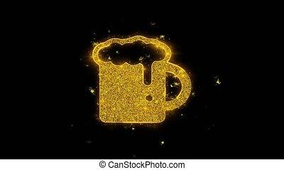 Beer, beer mug, cheers, glass beer Icon Sparks Glitter Particles on Black Background. Shape, Design, Text, Element, Symbol Alpha Channel 4K Loop.