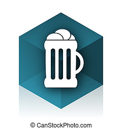 beer blue cube icon, modern design web element