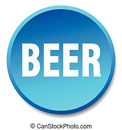 beer blue round flat isolated push button