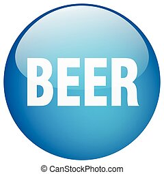 beer blue round gel isolated push button