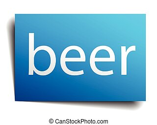 beer blue square isolated paper sign on white