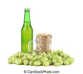 Beer bottle and barley mug with hop.