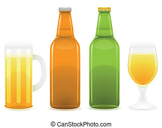 beer bottle and glass vector illustration isolated on white...