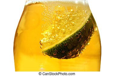 Beer bottle and lime