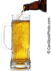 beer bottle and mug isolated on white