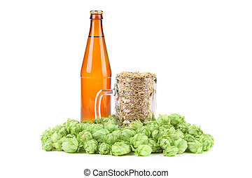 Beer bottle and mug with hop.