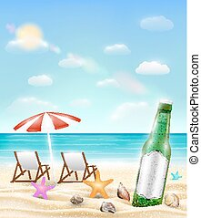 beer bottle and sea shell starfish on a sea sand beach