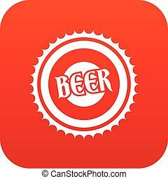 Beer bottle cap icon digital red