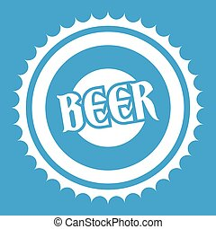 Beer bottle cap icon white